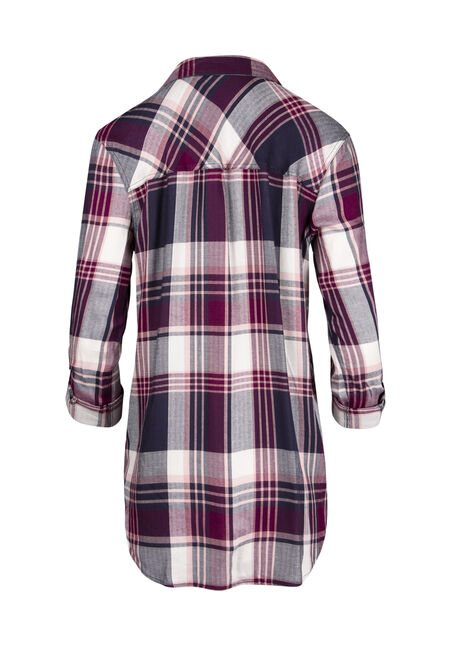 Ladies' Boyfriend Plaid Shirt, MAGENTA, hi-res
