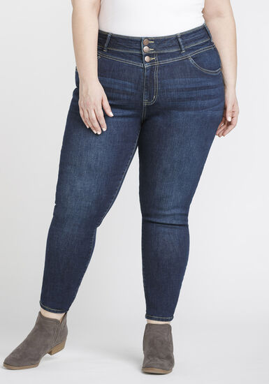 Women's Plus Size Stacked Waist Skinny Jeans, DARK WASH, hi-res