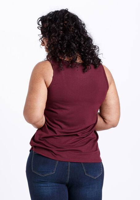 Women's Scoop Neck Loose Fit Tank, SANGRIA, hi-res