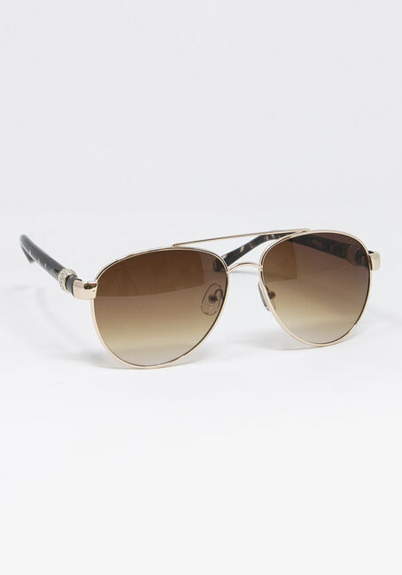 Women's Crystal Arm Tort Sunglasses