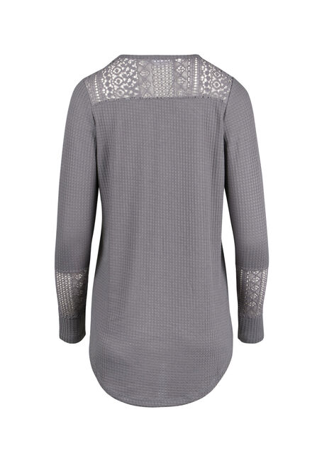 Ladies' Crochet Insert Peasant Top, SOFT GREY, hi-res