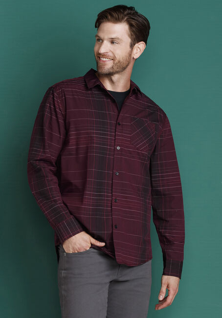 Men's Tonal Stripe Shirt, PLUM WINE, hi-res