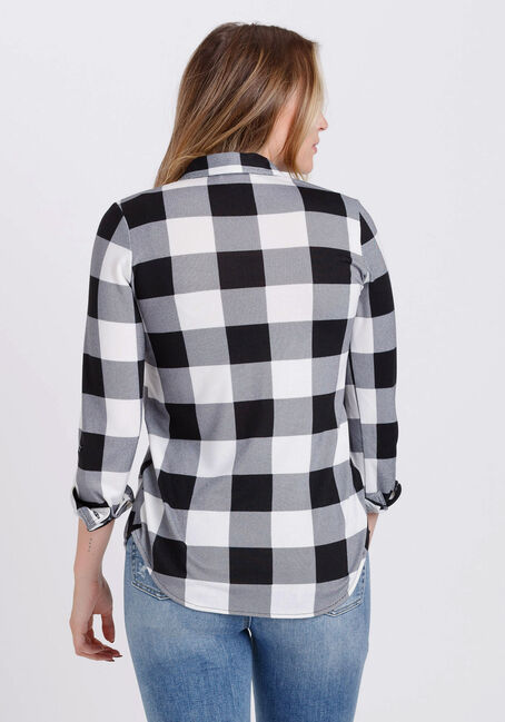 Women's Knit Buffalo Plaid Shirt, BLACK/WHITE, hi-res