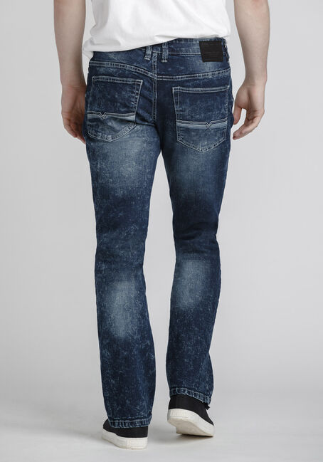 Men's Classic Straight Marble Wash Jeans, DARK WASH, hi-res