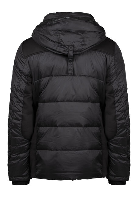 Men's Quilted Puffer Jacket, BLACK, hi-res