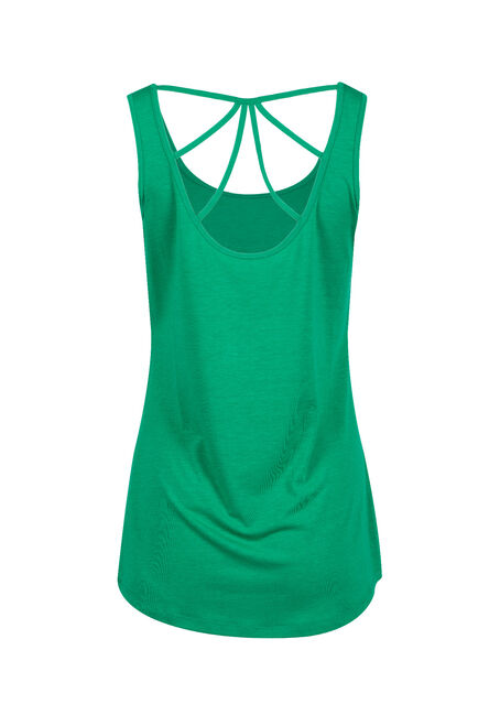 Women's Cage Back Tank, EMERALD, hi-res
