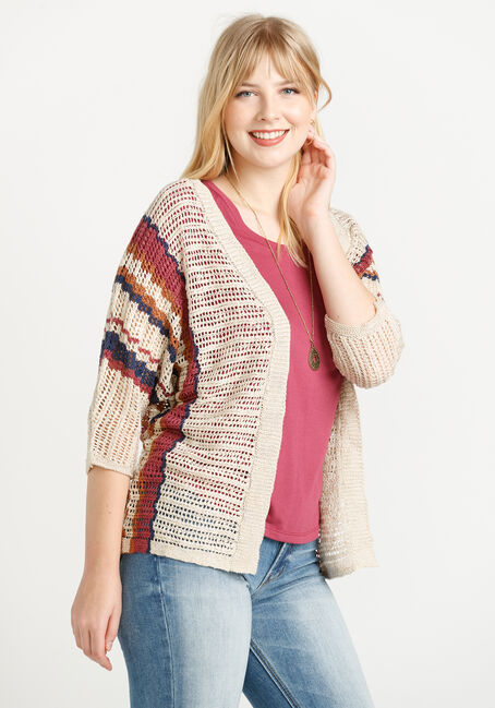 Women's Striped Open Cardigan