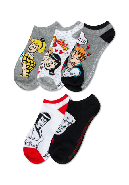 Women's 5 Pair Archie Socks, RED, hi-res
