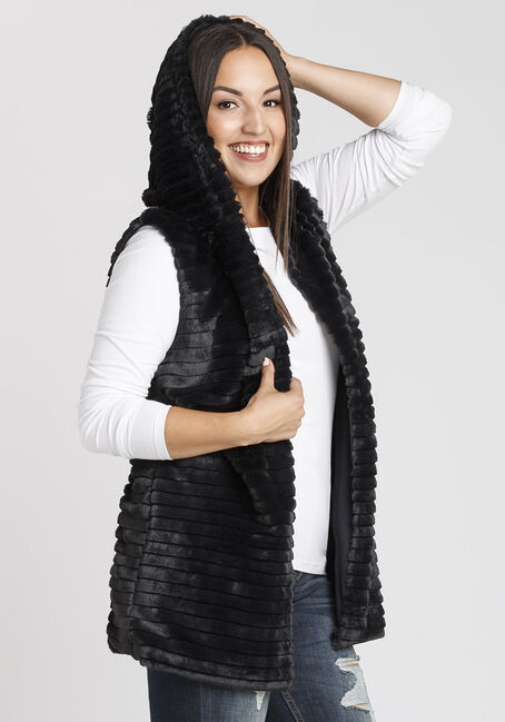 Women's Faux Fur Vest, BLACK, hi-res