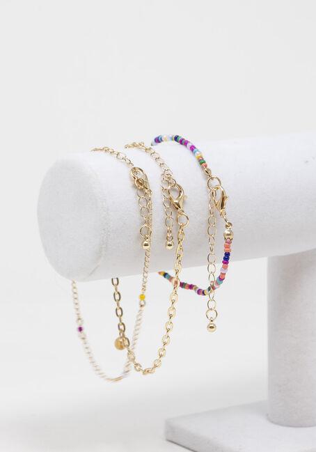 Multi Coloured Beads Anklet Set, GOLD, hi-res