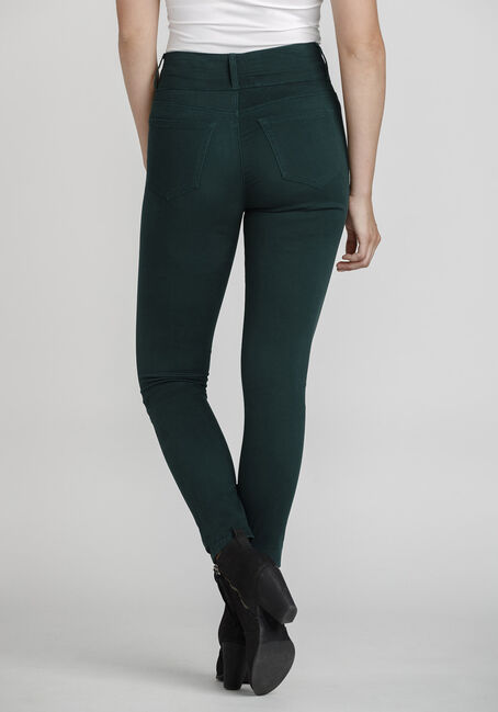 Women's High Rise Skinny Coloured Pant, PINE/FOREST GREEN, hi-res