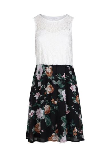 Women's White Lace Floral Skater Dress, IVORY, hi-res