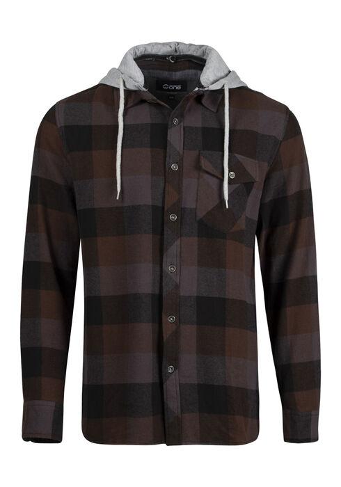 Men's Plaid Hooded Shirt Jacket, BROWN, hi-res