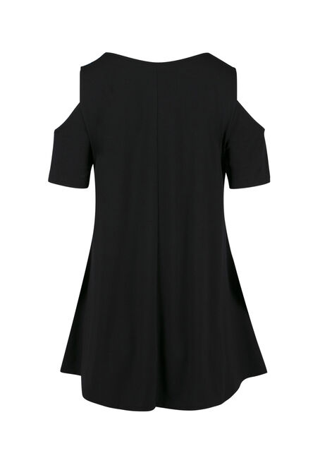 Ladies' Cold Shoulder Tee, BLACK, hi-res