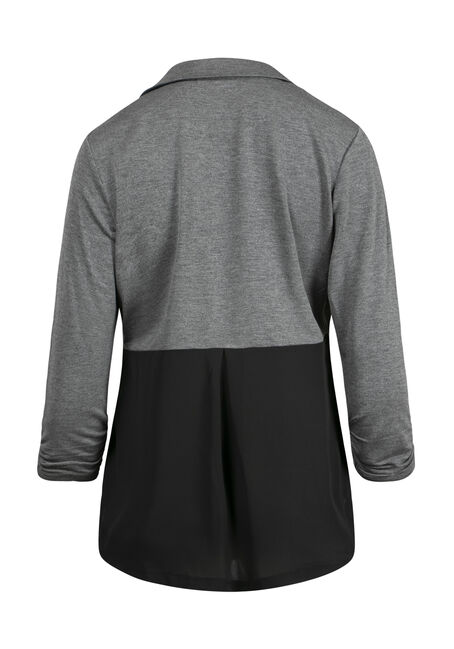 Women's Chiffon Back Blazer, CHARCOAL, hi-res