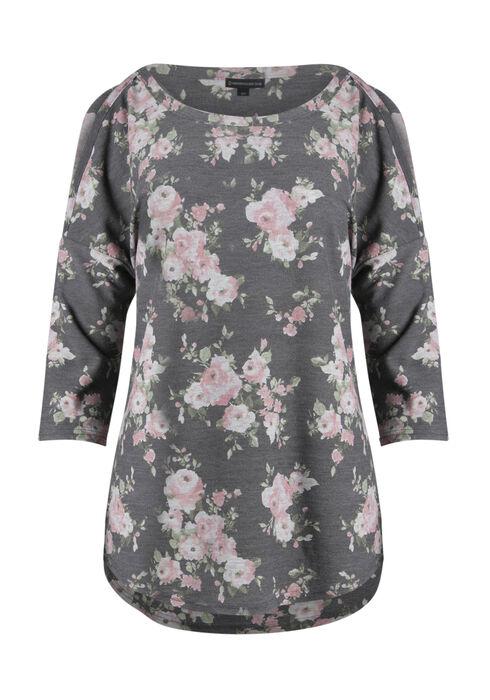 Ladies' Floral Cold Shoulder Top, MOONLIGHT BLUE, hi-res