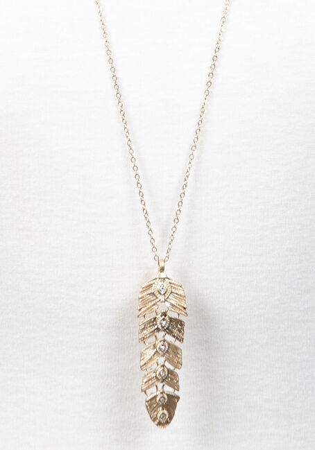 Feather Pendant Necklace, GOLD, hi-res
