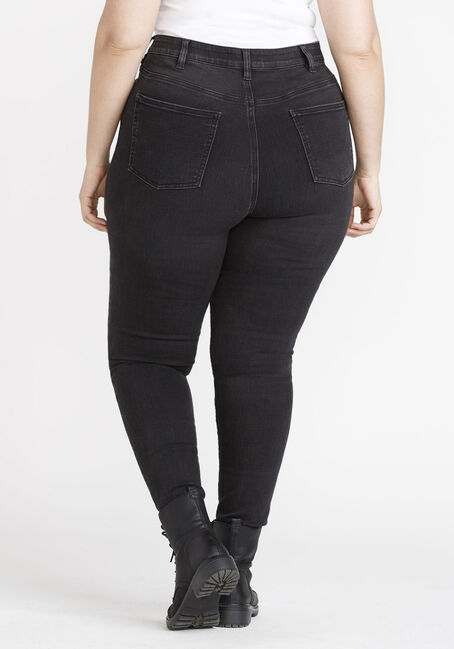 Women's Plus Size REPREVE® Black High Rise Exposed Button Skinny Jeans, BLACK, hi-res