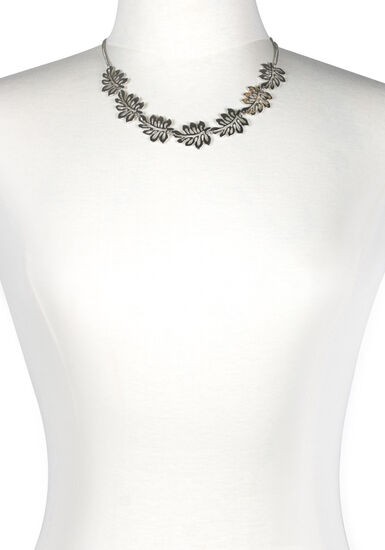 Women's Tropical Leaves Necklace, RHODIUM, hi-res