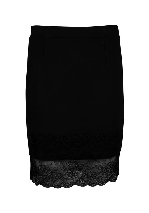 Ladies' Lace Hem Skirt, BLACK, hi-res
