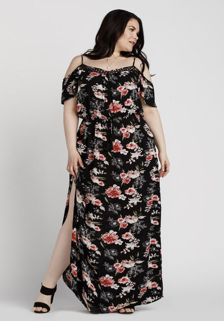 Women's Floral Cold Shoulder Maxi Dress, BLACK, hi-res