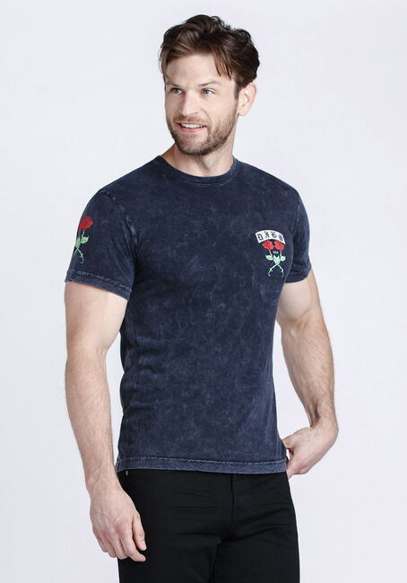 Men's Twin Roses Graphic Tee, BLACK, hi-res