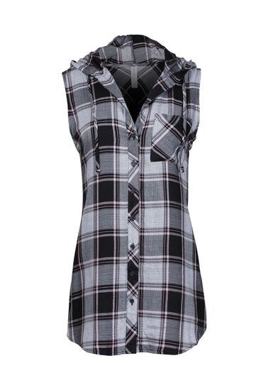 Women's Sleeveless Hooded Plaid Shirt, BLACK, hi-res