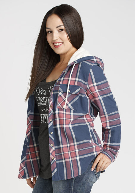 Ladies' Hooded Flannel Boyfriend Shirt, DK PINK, hi-res