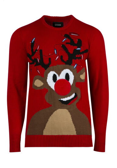 Men's Rudolph Light Up Sweater, RED, hi-res