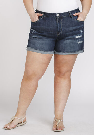 Women's Plus Size Cuffed Mid Rise Jean Short, DARK WASH, hi-res