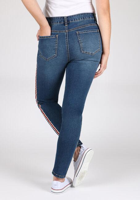 Women's Side Stripe Skinny Jeans, MEDIUM WASH, hi-res