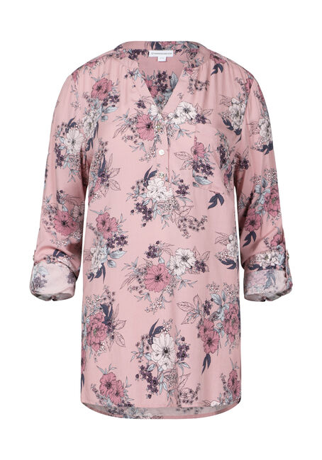 Women's Floral Roll Sleeve Tunic Shirt