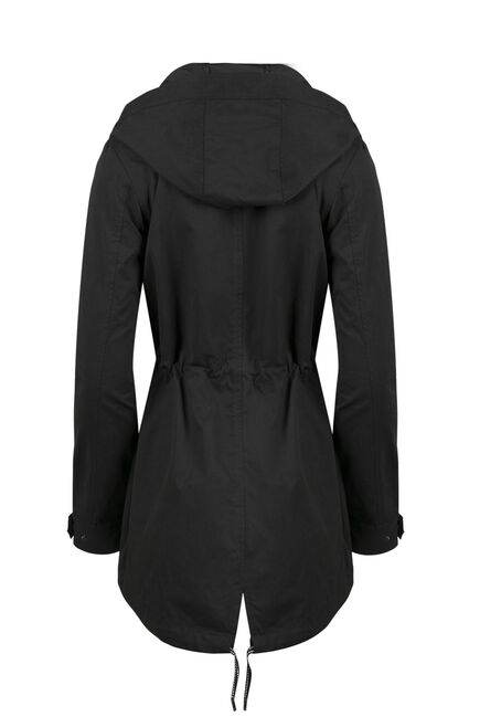 Ladies Hooded Anorak Jacket, BLACK, hi-res