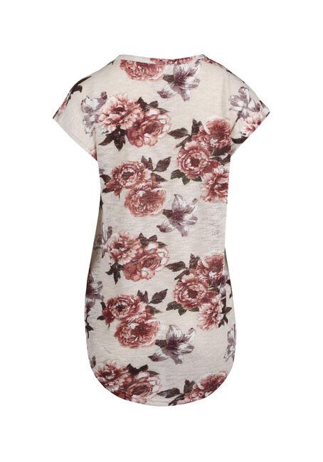 Ladies' Floral Flutter Sleeve Tee, IVORY, hi-res
