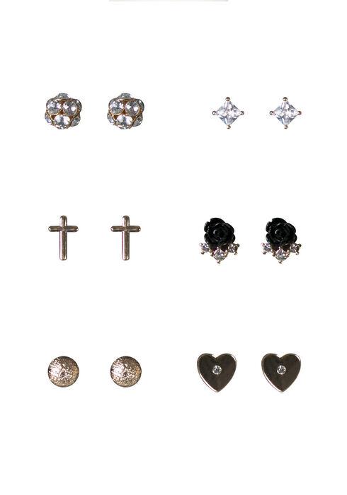 Women's 6 Pair Earring Set, MIXED METALS, hi-res