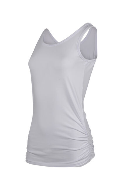Ladies' Super Soft Ruched Side Tank, WHITE, hi-res