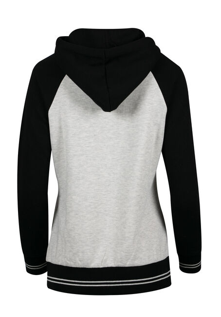 Women's Quarter Zip Hoodie, OATMEAL/BLACK, hi-res