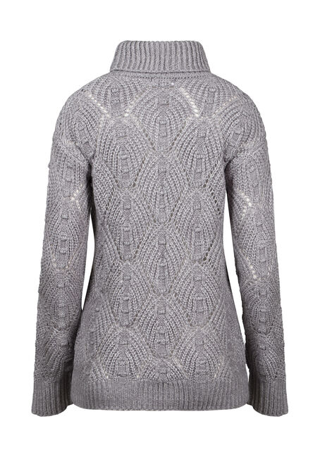 Women's Pointelle Turtleneck Sweater, GREY/IVORY, hi-res