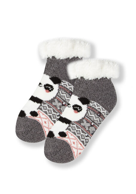 Women's Panda Slipper Socks, GREY, hi-res