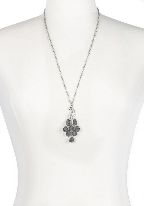 Ladies' Peacock Necklace, RHODIUM, hi-res
