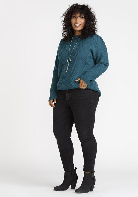 Women's  Chunky Sweater, TURQUOISE, hi-res