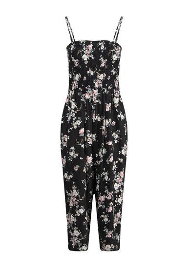 Women's Floral Smocked Jumpsuit, BLACK, hi-res