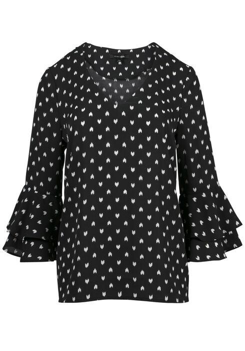 Ladies' Heart Print Blouse, BLK/WHT, hi-res