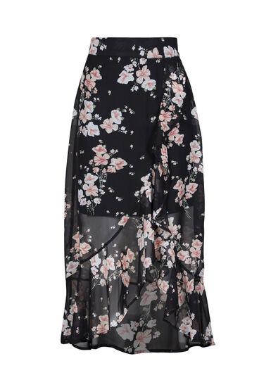 Women's Floral Ruffle Midi Skirt, BLACK, hi-res