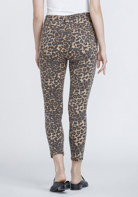 Women's Leopard Print Ankle Skinny Jeans, GOLD, hi-res