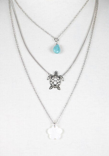 Ladies' Layered Turtle Necklace, RHODIUM, hi-res