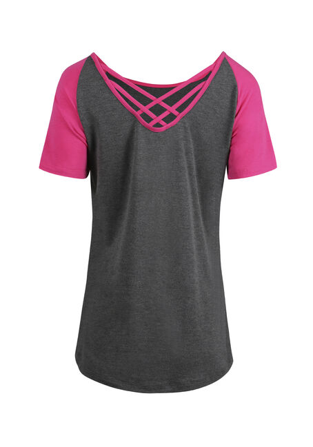 Women's Cage Back Baseball Tee, CHARCOAL/ROSE, hi-res