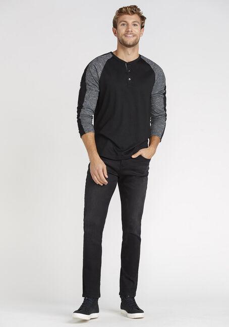 Men's Henley Sleeve Stripe Tee, BLACK, hi-res