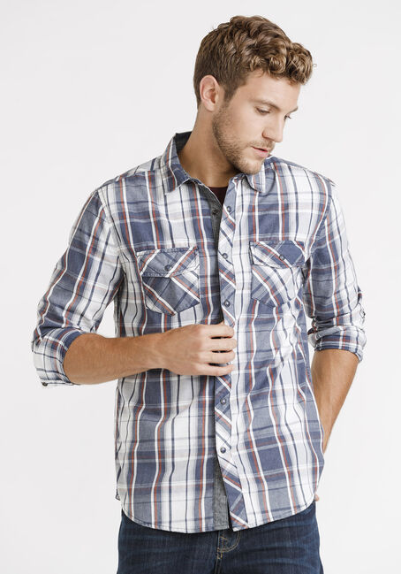 Men's Roll Sleeve Plaid Shirt, NAVY, hi-res