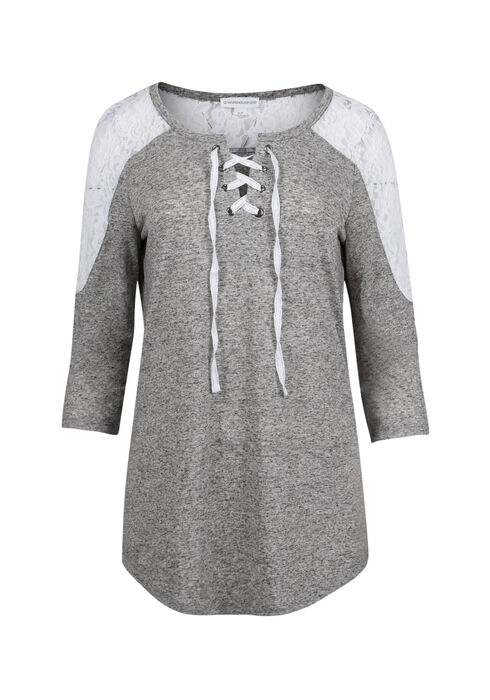 Ladies' Lace Up Tunic Top, GREY/IVORY, hi-res